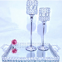 Kit Decor Pedrarias Cristal: Bandeja Espelho+taças Castiçais