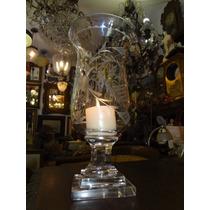 Castiçal/porta Vela Em Cristal Lapidado