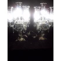 Antigo Par De Abajur De 5 Braços Cristal Lapidado E Prata