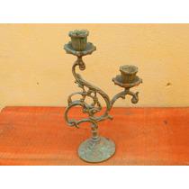 Antigo Castiçal 2 Velas (candelabro) Bronze