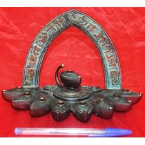 Antigo E Raro Castiçal Israelense Com 9 Lâmpadas Queimador