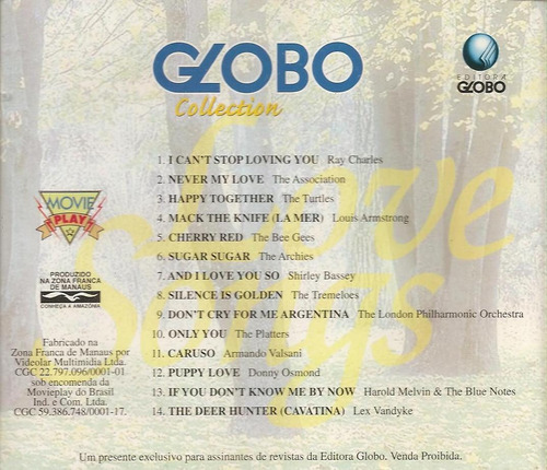 Cd Globo Collection - Love Songs