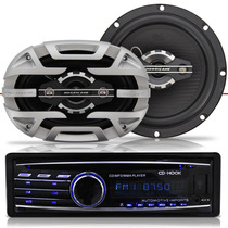 Cd Player Automotivo Usb + Par Alto Falante Para Carro Pra