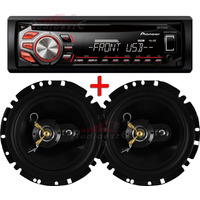 Toca Cd Player Mp3 Pioneer Usb/aux + Par Alto Falante Eros 6