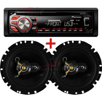 Par Alto Falante Eros Triaxial + Toca Cd Player Mp3 Pioneer