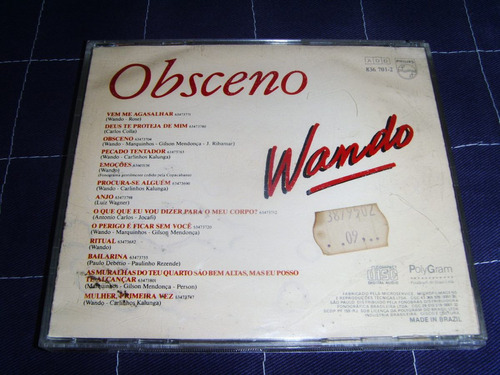 Cd - Wando - Obsceno - 1989