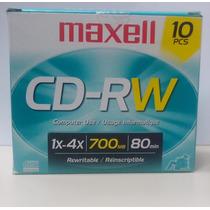 Cd-rw Virgem Regravável Maxell 700mb 1x-4x Cx C/ 10 Unidades