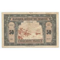 Marrocos 50 Francs P26 1943 Mbc Linda E Difícil