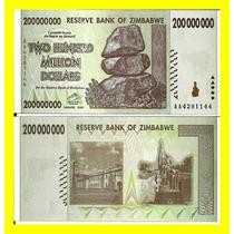 Zimbabwe Bela Cédula 200.000.000 Dollars 2008 Fe
