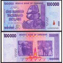 Zimbabwe Zimbabue P-75 Fe 100.000 Dollars 2008 * Q J *