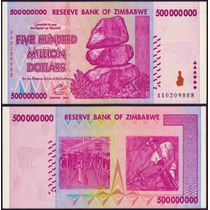 Zimbabwe Zimbabue P-82 Fe 500.000.000 Dollars 2008 * Q J *