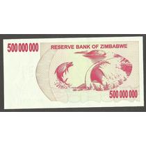 Cedula Zimbábue 500 Milhões Dollars 2008 Fe Bonita