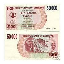 Zimbabwe Zimbabue P-47 Fe 50.000 Dollars 2007 * Q J *