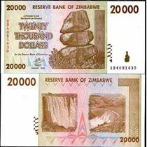 Zimbabwe Zimbabue P-73 Fe 20.000 Dollars 2008 * Q J *