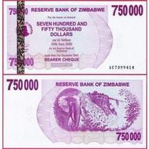 Zimbábue 750000 Dollars 2007 P. 52 Fe Cédula - Tchequito