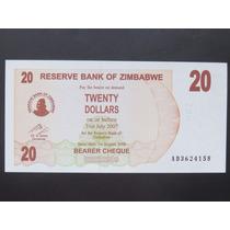 Zimbabwe 20 Dollars, Cédula. 2007 Fe ###