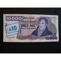 Cédula De 10000 Pesos C/carimbo De 10 Australes - Argentina