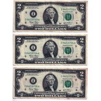 3 Cédulas Sequência 2 Dois Dólares Série I 2003 Colecionador