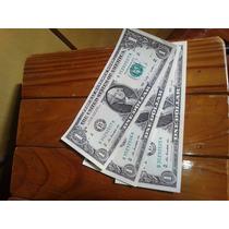 3 Cédulas De 1 Dollar Em Sequencia Novinhas
