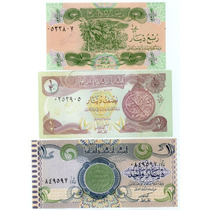 Lote 3 Cédulas Do Iraque 1/4, 1/2, 1 Dinars 1992 -93 Fe
