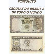 Timor 20 Escudos 1967 P. 26 Fe Cédula Bela Com Manchas