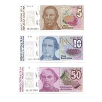 03 Cedulas Estrangeiras - Argentina 5, 10, E 50 Australes -