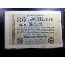 Cédula Alemanha, Inflação,10 Milhões De Marcos, Ano 1923