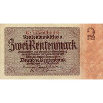 Germany Alemanha P-174 Fe 2 Rentenmark 1937 * Q J *