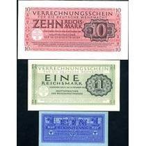 Germany Alemanha P-m32/38/40 Fe 3 Cédulas 1 Pf, 1 E 10 Mark