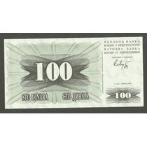 Cédula - Bósnia 100 Dinara 1992 P. 13 Fe Belíssima