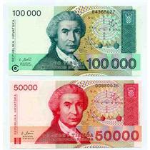 Cédulas - 2 - Croácia - 1993 - Fe - 50 E 100 Dinara