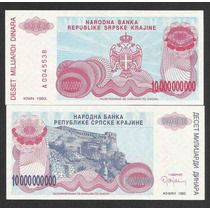 Croácia 10 Bilhões Dinara 1993 P. R28 Fe Cédula - Tchequito