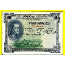 Espanha: Antiga Cédula De 100 Pesetas De 1925 - Mbc/soberba