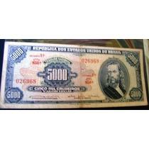 Cédula Brasil 5.000 Cruzeiros C058 (mbc) Rara