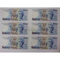 6 Cédulas Notas 5 Cinco Mil Cruzeiros 1990/92 Soberbas
