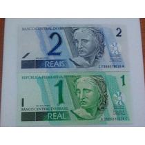 Notas De 1 Real E 2 Reais - Fe - Flor De Estampa