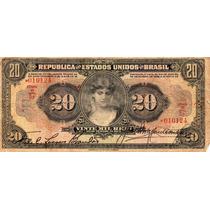 Cédula 20 Mil Réis - R 185 (mocinha) - Bc/mbc Rara