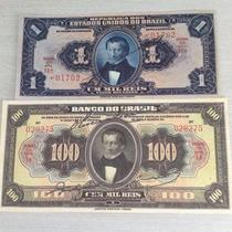 L-875 - R-077/199 2 Cédulas 1/100 Mil Réis 1919/23 Réplica