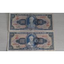 L-271 C119/121 2 Cédulas Original - Cr$ 500/1000 Carimbadas