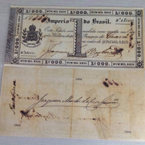 L-879 - R-001a 1 Belíssima Cédula 1 Mil Réis 1833 - Réplica