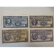 L1019 4 Cédulas 10/20/50 Mil Réis Thesouro Rgs Réplica 1930