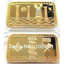 Linda Barra Maçonaria Banhada A Ouro - 44 X 28 X 3 Mm