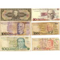 Lote 6 Cédulas Dinheiro Antigo De Cruzeiros, Coleção Lote 10