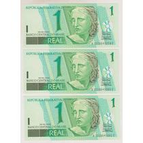 353 - 1 Um Real Fe 3 Cédulas Série Seguida R$ 36,00