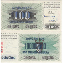 Cédula Da Bosnia De 100 Milhões De Dinara - Fe