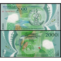 Vanuatu P-new Fe 2.000 Vatu Nd (2014) Polímero * Q J *