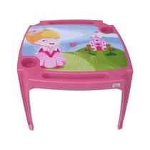 Mesa Mesinha Infantil Com 2 Cadeiras Princesas Meninas Rosa