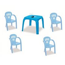 Mesa Infantil Azul Com Estojo E 4 Cadeiras | Frete Gratis