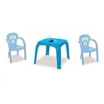 Mesa Infantil Azul Com Estojo E 2 Cadeiras   12x Sem Juros