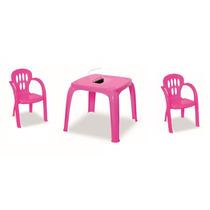 Mesa Infantil Rosa Com Estojo E 2 Cadeiras   12x Sem Juros